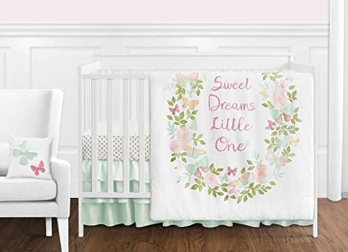 Sweet Jojo Designs Blush Pink, Mint and White Shabby Chic Butterfly Floral Baby Girl Crib Bedding Set Without Bumper - 11 Pieces - Watercolor Rose