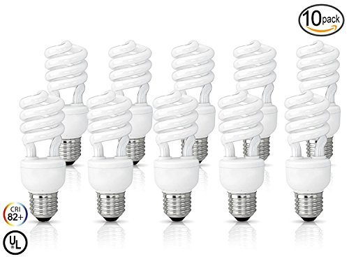 (10 Pack) Circle 13 Watt (60 Watt) Compact Fluorescent Light, Cool White 4100K, Mini Spiral Medium Base CFL Light Bulbs Base Cool White 4100k Fluorescent