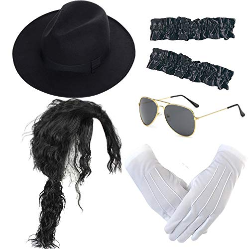 Micheal Jackson Hats (Michael Jackson Costume Accessory Kit - MJ Wig,Performance Fedora Hat,Sequin)