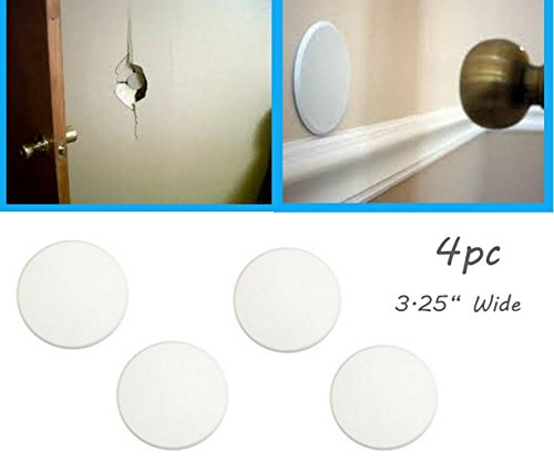 4pc ALAZCO Door Knob Wall Protector Shield Plates Round White Self Adhesive Prevents Holes on Wall