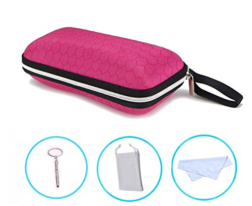 LANGUAN Portable Zipper Eyeglasses Case, Honeycomb Glasses Sunglasses Hard Case Box Protector for Men & Women or - Frame Size Eyeglass Dimensions