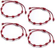 Red Bracelets for Protection, Horuhue 4 PCS String 7 Knots Red Amulet Bracelets Ward off Evil Eye, Bring Healt
