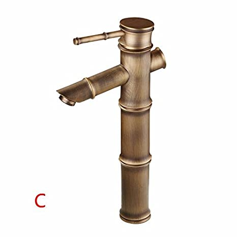 ... mezcladora Grifo baño Grifo Mezclador Grifo Lavabo Grifo Antiguas de bambú de Cobre Pulido Mezclador Agua fría/Caliente batidora C: Amazon.es: Hogar