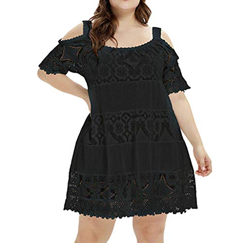 kaifongfu Summer Dress for Women Sexy Plus Size Solid Color Skirt Short Sleeve O-Neck Lace Hollow Out ()