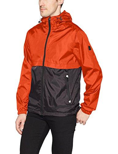 Southpole Men's Water Resistance Hooded Windbreaker Jacket, Orange, - Orange Windbreaker