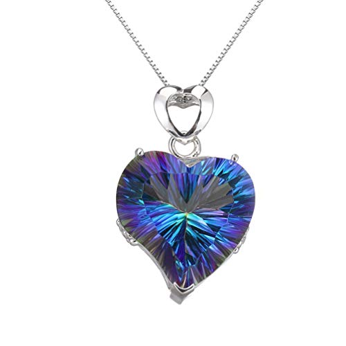 (Fire Mystic Topaz Necklace For Women Love Heart Pendant Necklaces Jewelry for Mom 18 Inch (Fire Blue))