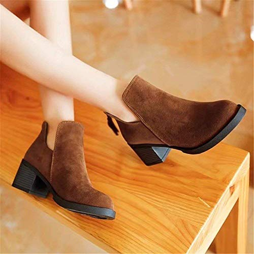 Boots Shoes 's Heel 35 Rough Sed S Short Da Eu Donna Zipper Scarpe Casual Women' q4cRqAXwyT