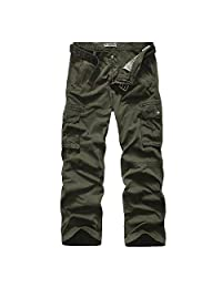Huafeiwude Mens 100% Cotton Multi Pockets Military Cargo Pants Combat Trousers