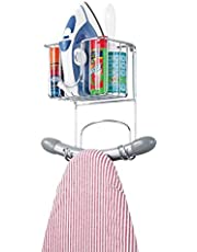 mDesign Wall Mount Metal Ironing Board Holder with Small Storage Basket - Holds Iron, Board, Spray Bottles, Starch, Fabric Refresher for Laundry Rooms