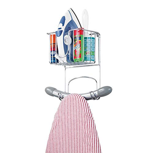 mDesign Wall Mount Metal Ironing Board Holder with Small Storage Basket - Holds Iron, Board, Spray Bottles, Starch, Fabric Refresher for Laundry Rooms - Chrome