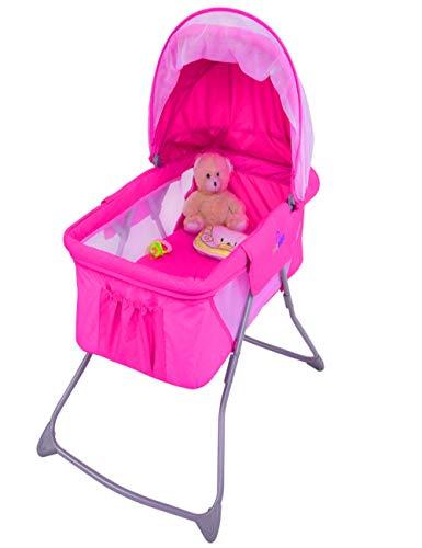 Netted Bassinet Crib Baby Bumper Mesh Cover Net Newborn Legged Storage Pink Girl Portable Retractable Lightweight & Ebook by AllTim3Shopping. by STS SUPPLIES LTD