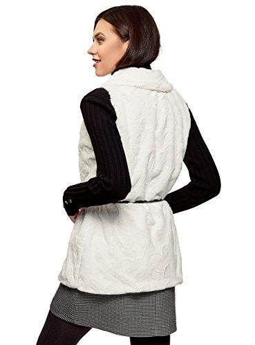 Sintético oodji Chaleco Mujer Ultra Blanco de con Cinturón 1200n Pelo XwfaPwq