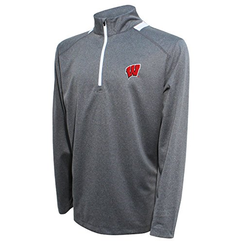 (Crable NCAA Men's Quarter Zip with Team Neck Panel,Wisconsin Badgers,Heather Gray/Red,X-Large)
