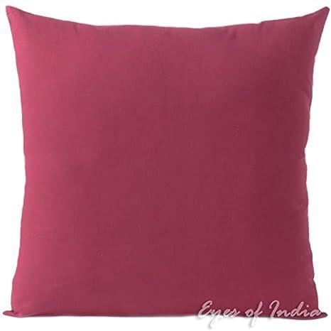 Eyes of India - Rojo bermellón algodón Decorativo Boho Bohemio India Cojín Sofá Almohada Manta Tapa - Burdeos, 20 X 20 in. (50 X 50 cm)