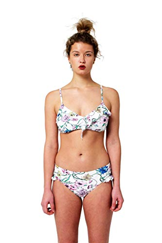 Juicy Couture Two Piece Swimsuit Set Bikini with Asymmetrical Ruffle and Bottom with Ruffle Leg Opening (Pink Floral, Medium) ()