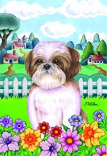 Shih Tzu Brown   Tomoyo Pitcher Spring Garden Flag