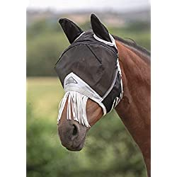 Shires Fine Mesh Horse Equine Fly Mask with Ears and Nose Fringe 60% UV Protection (Full, Black)
