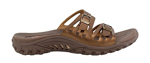 Skechers Women's Reggae-Moon Rock-Double Buckle Slide Sandal, Bronze, 8 M US (Skechers Womens Rock)