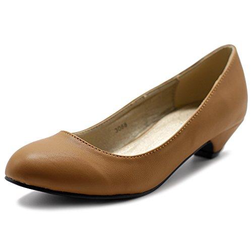 Ollio Pump Comfort Women's Classic Tan Low Heel Shoe STHSqx6
