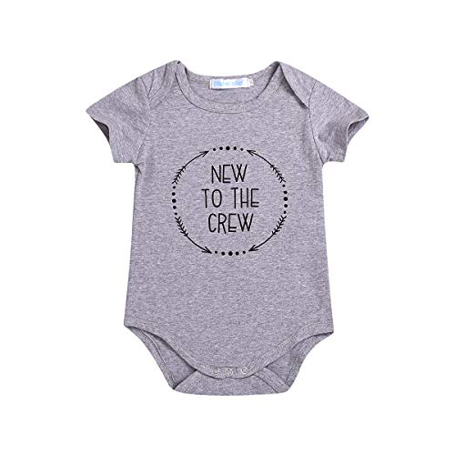 Xmas gift Baby Boys Girls Clothes Newborn Funny Letter Print Romper Infant Creeper Bodysuit Jumpsuit Onesies Outfits (Baby New to The Crew Bodysuit, 18-24 Months)