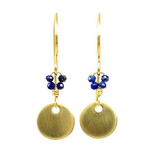 - 14kt Gold-filled Disc Earrings Simple Minimalist Lapis Lazuli