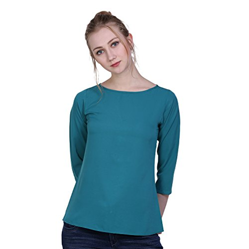 Anzlik Casual 3/4th Sleeve Blue Top for Women