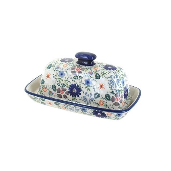 Blue Rose Polish Pottery Carnival Butter Dish