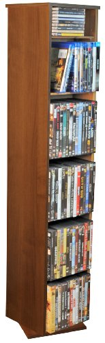 Sided Revolving Media Storage - Revolving 2 Sided Multi-Media Library in Dark Walnut Finish