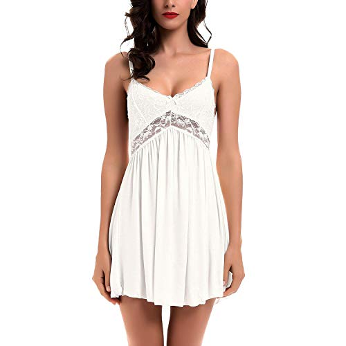Women Lace Lingerie Sleepwear Chemises V-Neck Full Slip Modal Babydoll Nightgown Dress White XXL ()