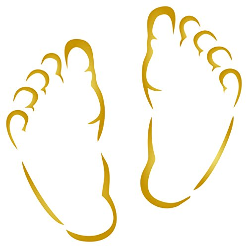 Baby Feet Stencil - 3 x 3 inch (S) - Reusable New Born Babies Child Boy Girl Wall Stencils for Painting - Use on Paper Projects Walls Floors Fabric Furniture Glass Wood etc. Baby Feet Flat Card