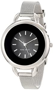 Nine West Women's NW/1307BKSB Silver-Tone Black Dial Round Mesh Watch