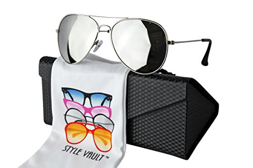 Kd212-ec Kids Metal Aviator Pilot Sunglasses W Pouch (1106mr Silver-mirrored W case) by Style Vault