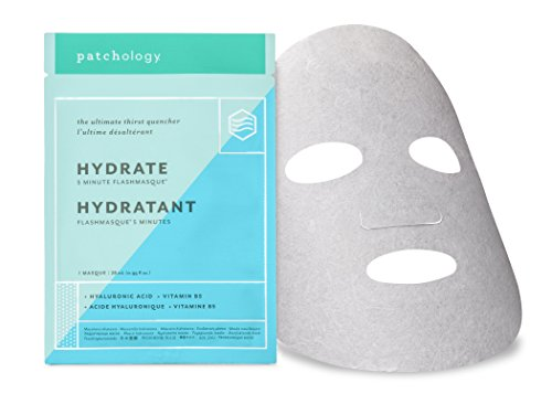Patchology Hydrate FlashMasque Sheet Mask, a Deeply Moisturizing Hydrating Mask - w| Hyaluronic Acid, Vitamin B5, Betaine- Single Mask