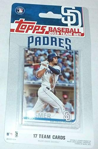 (2019 Topps Factory Sealed San Diego Padres Team Set of 17 Cards: Eric Hosmer(#SP-1), Wil Myers(#SP-2), Hunter Renfroe(#SP-3), Austin Hedges(#SP-4), Francisco Mejia(#SP-5), Joey Lucchesi(#SP-6), Luis Urias(#SP-7), Craig Stammen(#SP-8), Franmil Reyes(#SP-9), Manny Margot(#SP-10), Greg Garcia(#SP-11), Eric Lauer(#SP-12), Robbie Erlin(#SP-13), Ian Kinser(#SP-14), Kirby Yates(#SP-15), Travis Jankowski(#SP-16), Jacob Nix(#SP-17))
