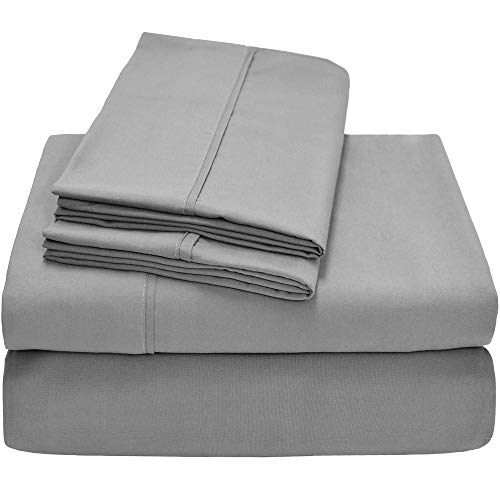 Bare Home Premium 1800 Ultra-Soft Microfiber Collection Sheet Set - Double Brushed - Hypoallergenic - Wrinkle Resistant - Deep Pocket (King, Light Grey) by Bare Home (Image #1)