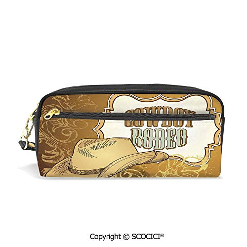 Girls Boys 3D Printed PU Pencil Case Holders Bag with Zipper Cowboy Rodeo Themed Framework Vintage Floral Ornaments and Hat Design Decorative Stationery Makeup Cosmetic Bags Back to School ()