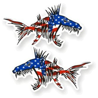 Fish Decal Set - 2 pcs REFLECTIVE Stickers SET #6 | USA AGGRESSIVE Kayak Decals Fish Bones Skeleton Stickers for Kayak Canoe Fishing Boat Wall Car Accessories