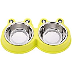 Freerun Set of 2 Dog Food Bowl,Stainless Steel Pet Bowls with Nont Slip and Spill Mat,Removable Bowls Perfect for Puppies and Cat (Yellow)