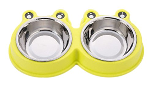 Freerun Set of 2 Dog Food Bowl,Stainless Steel Pet Bowls with Nont Slip and Spill Mat,Removable Bowls Perfect for Puppies and Cat (Yellow) (Wholesale Gift Baskets Dropship)