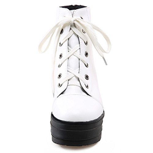 Heel Flat Up Boots Hidden Women's Ankle White LongFengMa Round Lace Thick Toe xvqSIAn8