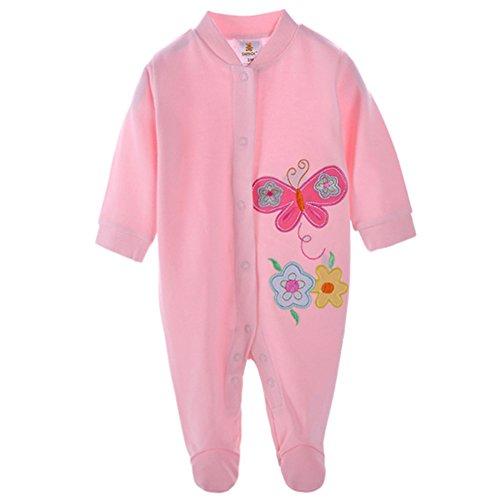 DANROL Baby Girls' Cartoon Cotton Long Sleeve Footie 3M Butterfly