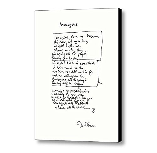 - Framed John Lennon Facsimile Hand Written Imagine Signed Lyrics Print