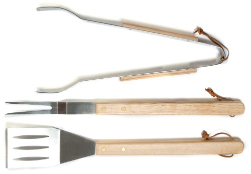 Oval Pro Stainless Steel Fork, Spatula, and Tong Tool Set with Oak Handles -