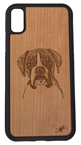 iPhone X and 2018 iPhone Xs Compatible Laser Engraved Cherry Wood Cell Phone Case - from Photo of Boxer Dog ()