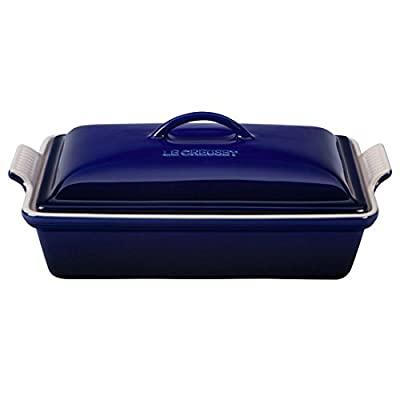 Image of Le Creuset PG07053A-3378 Heritage Stoneware Covered Rectangular Casserole, 4-Quart, Indigo