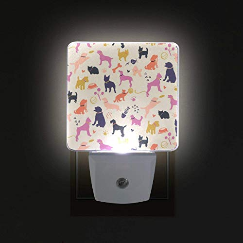 xiaodengyeluwd 2 Pack Dogs and Cats Silhouettes Colorful Pattern Plug in Dusk to Dawn Light Sensor LED Night Light Wall Light for Bedroom, Bathroom, Stairs, Energy Efficient -