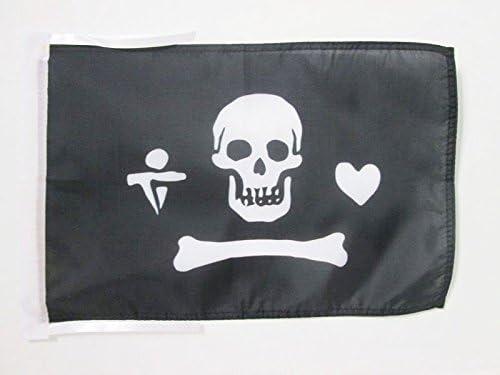 AZ FLAG Bandera Pirata STEDE BONNETT 45x30cm BANDERINA con Calavera 30 x 45 cm cordeles