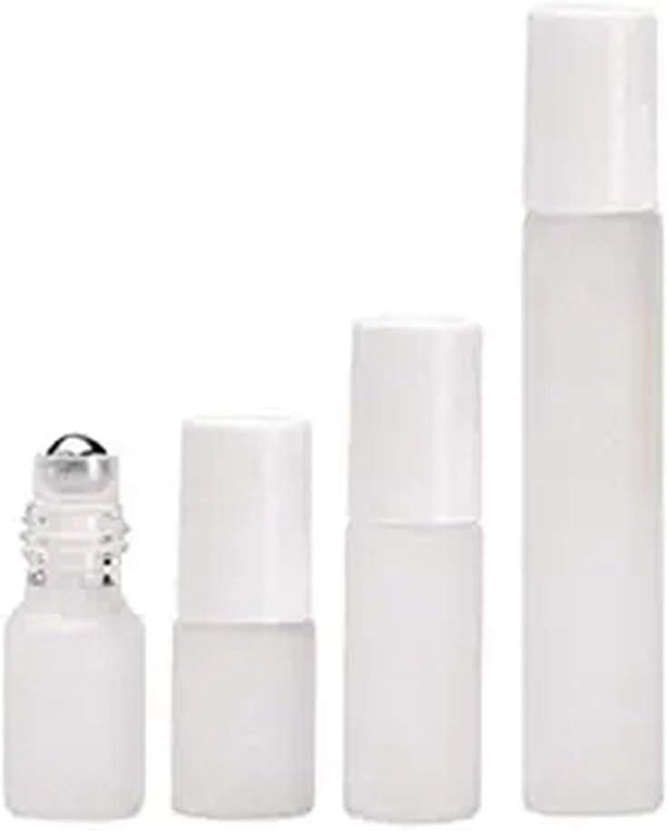 Las botellas de vidrio retornables rollo en acero inoxidable roll-on y el casquillo blanco (10 ml) 10 piezas de Helada botellas giratorias de aceite esencial para vacaciones: Amazon.es: Belleza