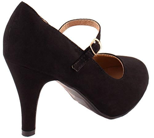 Bella Marie Shoes Womens Helena-13 High Heel Suede Pumps with Buckle Closure Black Suede dfvjIOT