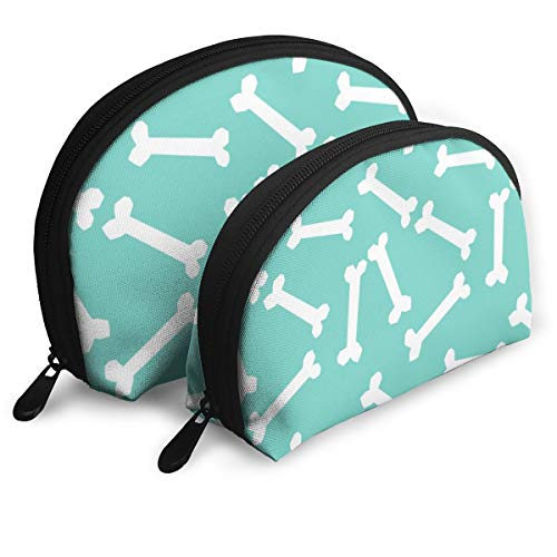 Dog Bone Cute Pet Dog Coordinate Mint Blue Turquoise Cute Dog Bones Fabric Portable Toiletry Bag Makeup Bag Portable Travel Bags Handbag Organizer with Zipper -